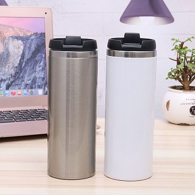 10pcs 420ml Sublimation Blank Straight Coffee Cup Double Wall Stainless Steel Vacuum Insulated Thermos Flask Car Mug Tumbler