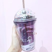 Double-walled Drink Coffee Tea Cup Reusable Smoothie Plastic Iced Tumbler Travel water cups cup with lid and straw cold cups