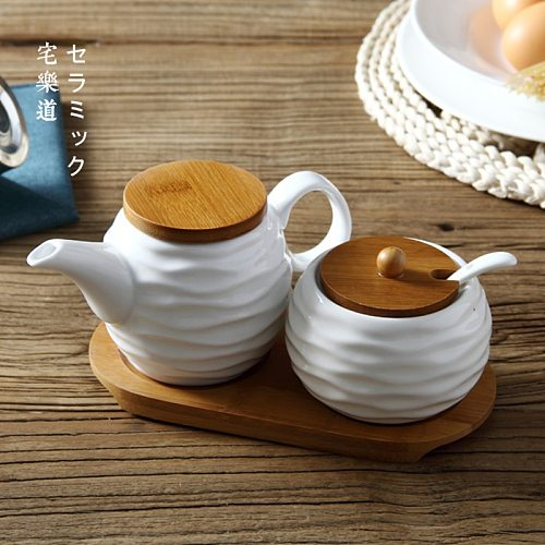 Kitchen supplies ceramic oil pot seasoning pot set seasoning box salt sugar bowl pepper sauce vinegar jars    WJ022428