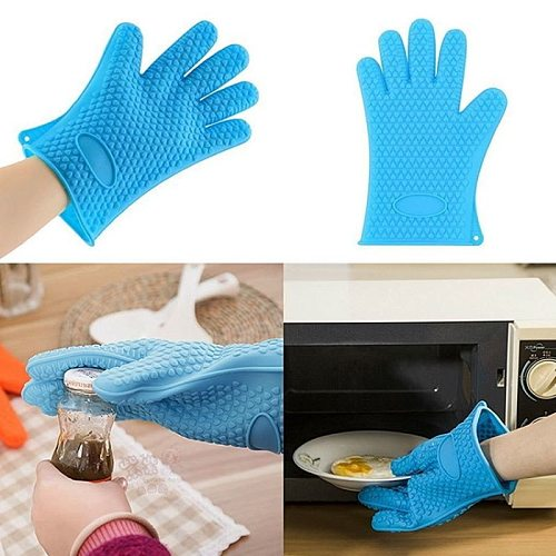 1PCS Long Thick Silicone Gloves Heat-resistant Non-slip Microwave Oven Mitts Kitchen baking accessories BBQ Cooking Oven Gloves