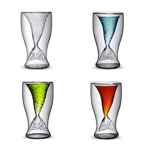 Mermaid Shot Glass for Whiskey 100 ML Double Wall Glass Cup with Creative Design for Cocktail Juice Transparent G10