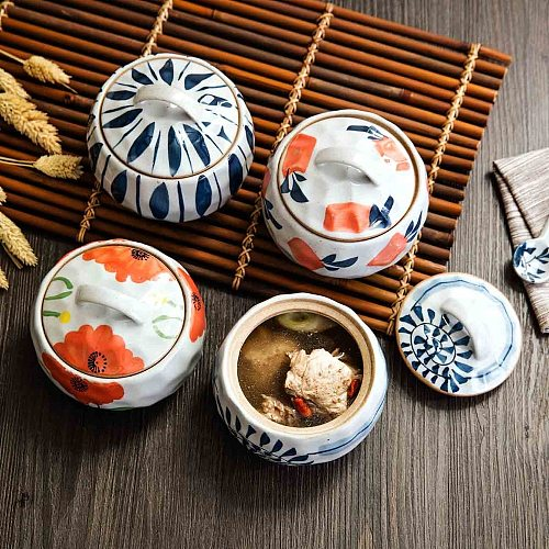 Japan Style Household Ceramics Stew Soup Inner Pot with Lid Retro Water Steamed Egg Soup Pot Cooker Steamer Kitchen Stockpot