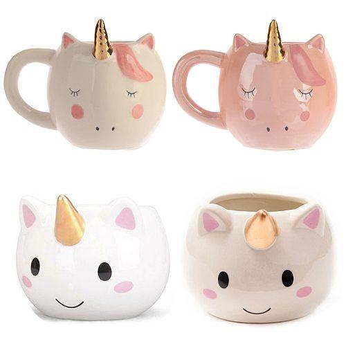 New Unicorn Mug 300mL Rainbow Horse Unicorn Mugs Cup Cuteness 3D Unicorn Ceramic Coffee Mug Gold/Copper Stereo Cute Unicorn Cups