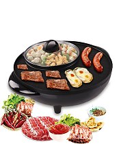 BBQ hot pot multi function electric cooker home electric roasting hot pot One piece non stick pan