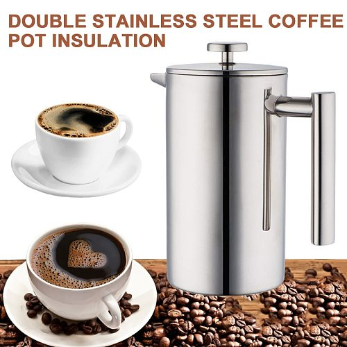 350ml Double Stainless Steel Nsulation Anti-scalding French Coffee Pot French Pressure Pot Teapot With Strainer For Home Office