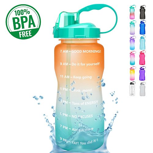 QuiFit 2L 3.8L Gallon Tritan Sports Water Bottle with Straw Big Protein Shaker Gourd Cup Outdoor Drinking Jug BPA Free GYM