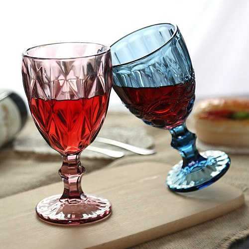 NEWYEARNEW Red Wine Glass Cup Vintage Relief Engraving Embossment Juice Drinking Champagne Assorted Goblet