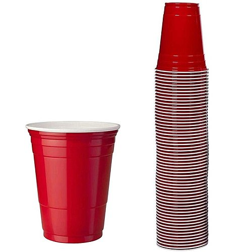 100Pcs / Set of 450Ml Red Disposable Plastic Cup Party Cup Bar Restaurant Supplies Houseware Household Goods High Quality