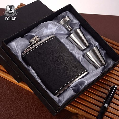 7 4PCS/set Oz Stainless Steel Leather Wine Whiskey Flask Hip Bottle Alcohol Cup Kettle Cups Funnel Mug For Travel Outdoor Gift