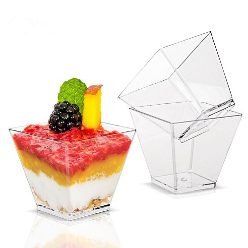 50pcs Disposable Dessert Cup 2oz 60ml Plastic Cups Square Jelly Mousses Dessert Cup Mini Food Container for Party Birthday Decor