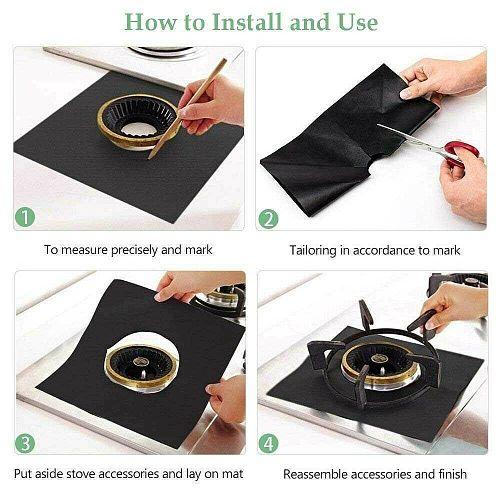 PTFE Protector Pad Washable Anti-Oil Reusable Non-Stick Convenience Suit for Kitchen Gas Range Stove ALI88
