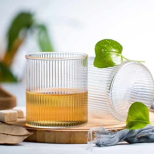Whisky Tumbler Ripple Glass Cup Shot Glasses Straight Striped Juice Glass  Beer Ice Coffee Cup