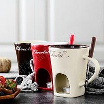 Fondue Mug Set Personal Mini Fondue Pots Chocolate Cheese Ice Cream Fondue Maker Kit Individual Butter Melter Cup Small Warmer