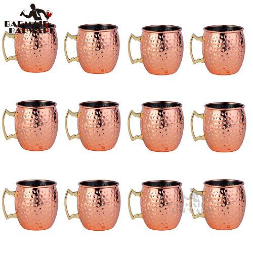 12Pcs 550ml Moscow Mule Copper Mugs Metal Mug Cup Stainless Steel Beer Wine Coffee Cup