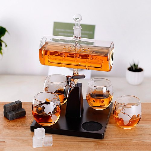 Creative Antique Boat Shape Decanter Red Wine Whisky Glass Decanter for Wine Liquor, , Bourbon, Ladies Gift