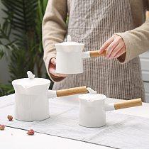 Porcelain Breakfast Milk Heating Pot Anti-scald Handle Home Coffee Pan Baby Solid Food Cooker Hotpot Soup Chocolate Fondue Pot