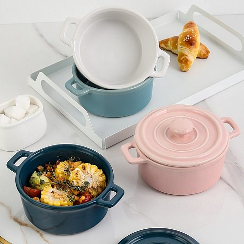 Mini Ceramic Soup Stockpot With Cover Stewpot Pots Children Stew Egg Cake Home Kichen Used Cookware Cooking Pots