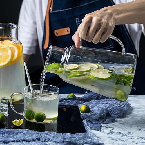 2pcs Glass Water Pitcher Tea Kettle Handle Tea Pot Water Jug Glass Water Cup Water Bottle High Temperature Resistance Bottle