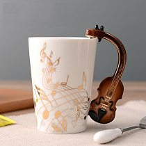 Ceramic Golden Music Note Mug Violin Handle Coffee Mug Guitar Style Cups and Mugs Gift for Music Lovers