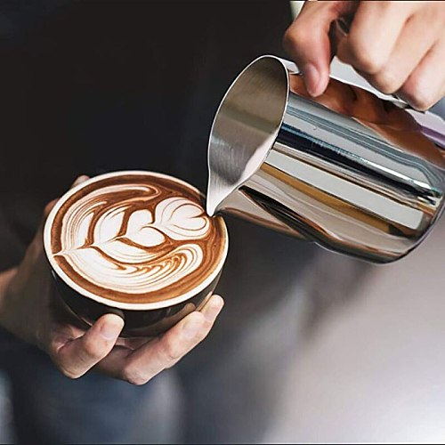 350/600ML Espresso Steaming Pitcher Coffee Milk Frothing Cup Coffee Steaming Pitcher Milk Jug Pull Flower Cup Coffee Cappuccino