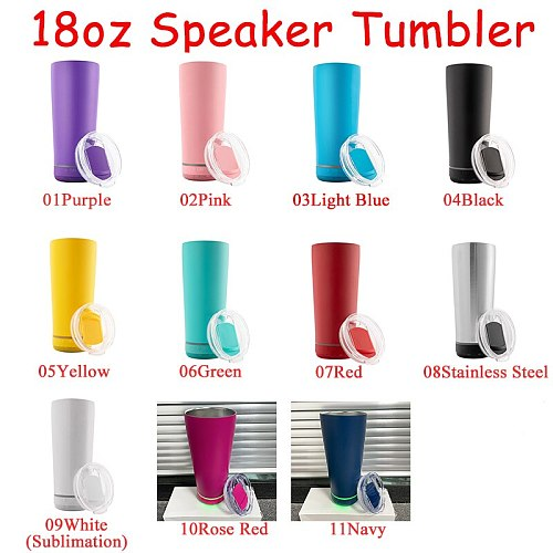 10pcs/Lot New Style 18oz Music Speaker Tumbler Stainless Steel Cups Smart Waterproof Portable Double Wall Mug For Gift