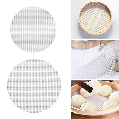 1PC Non-Stick Steamer Mat Cloth Round Food Grade Silicone Dim Sum Tool Kitchen Tools Cooking Accessories Eco-friendly Cookware