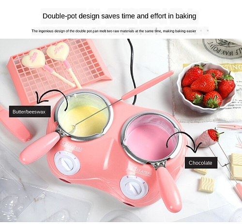Home Use 40W Durable Stainless Chocolate Melting Pot Electric Fondue Melter Machine Set DIY Chocolate220V