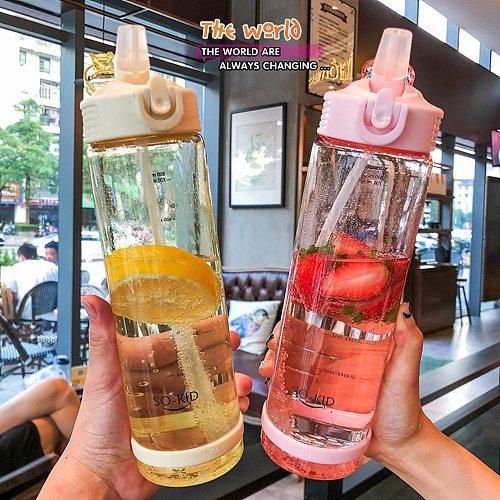 500/700/800ml Water Bottle With Straw Outdoor Water Bottle Healthy Plastic Travel Drinkware Sports Shaker Kids Baby Waterbottle