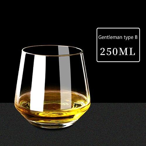Fashion 200-400ML Whiskey Glass Cup Lead-free Wine Glass Wheat Stemless Beer Mug Vodka Cup Drinkware Bar Tools Gentleman's Glass