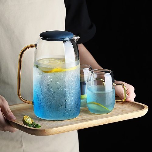 Large Water Jug Glass Water Pitcher Home Use Kettle Tea Pot Glass Water Jug With Handle for Boiling Cold Drinkware Glass Pitcher