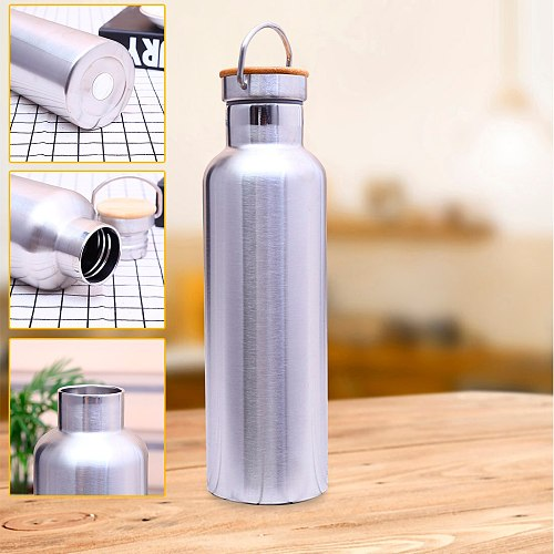 Outdoor Sports Flasks Leak-proof Travel Cycling Hiking Camping Bottles 500ml Portable Stainless Steel Water Bottle Bamboo Lid
