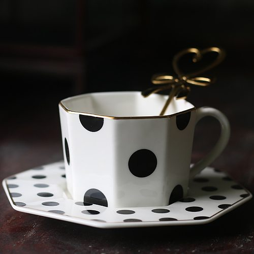 Octagonal Ceramic Plate Black White Dot Stripe Tableware Coffee Plates Dishes Afternoon Tea Set Home Kitchen WY121201