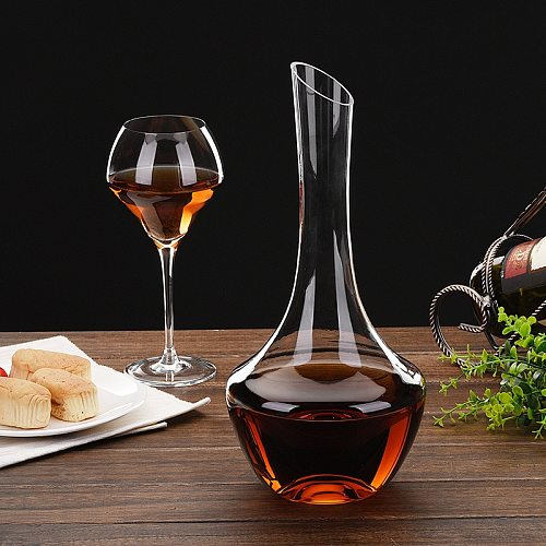 Simple and Practical 1500ml Big Belly Lead-Free Crystal Glass Wine Decanter Family Bar Practical Red Wine Exquisite Pourer Tool