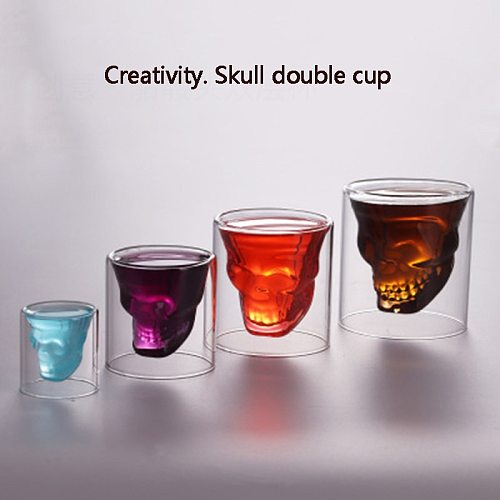 Double wall  skull cup Transparent wine whisky tea coffee water mug drinks glass reusable Tool bar accessories 25-250ml