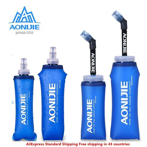 AONIJIE E885 New Foldable Silicone Water Bottle Outdoors Traveling Sport Running Cycling Kettle Healthy Soft Material 250- 600ML