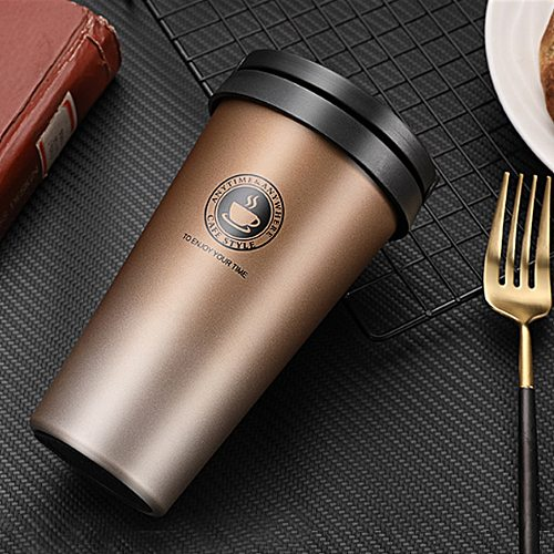 Coffee Cup Thermos Flask Double Wall Vacuum Insulated Travel Mug Stainless Steel Vacuum Mug,   Coffee Mug with Lid and Handle
