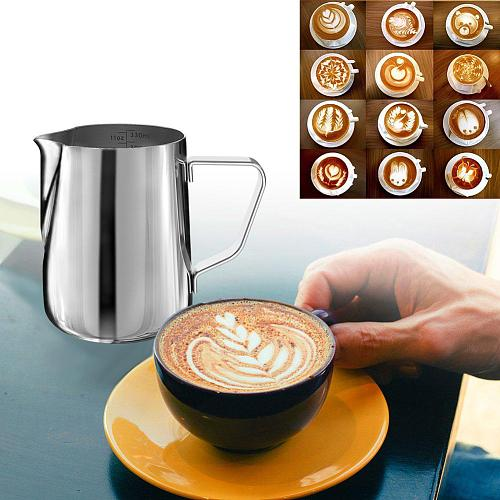 Stainless Steel Frothing Steaming Pitcher Garland Cup 350ml for Espresso Machine, Coffee Milk Frother and Latte Maker