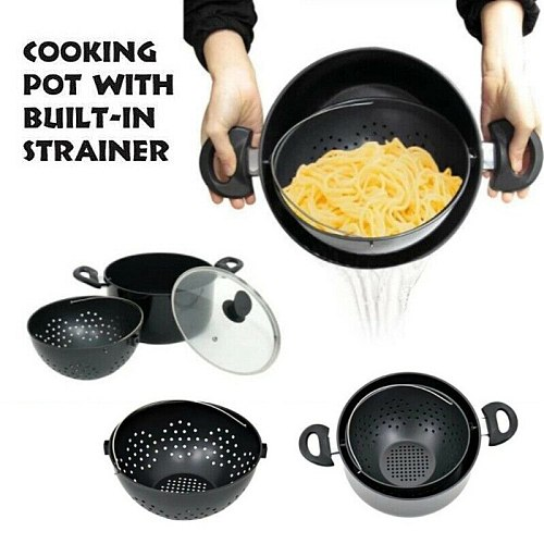 New 2-in-1 Stainless Steel Pot With Built-In Strainer Basket Not Sticky Pot For Kitchen Drain Pasta Vegetables