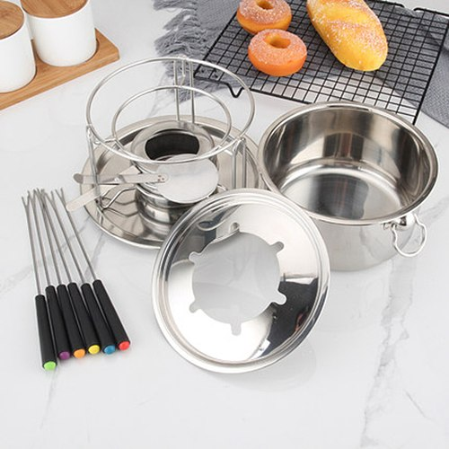 Removable Cheese Hot Pot Stainless Steel Chocolate Fondue Chocolate Butter Melting Pot Fondant Milk Bowl Must-have Tool For Home