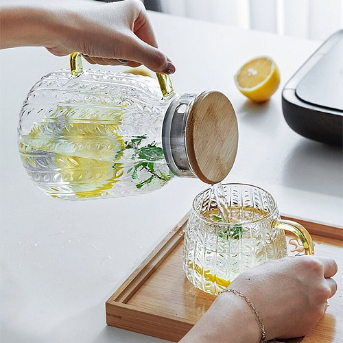 Glass Water Jug Creativity Glass Water Pitcher Cold Water Kettle Tea Pot With Wooden Cover Golden Handle 1500ML Home Use