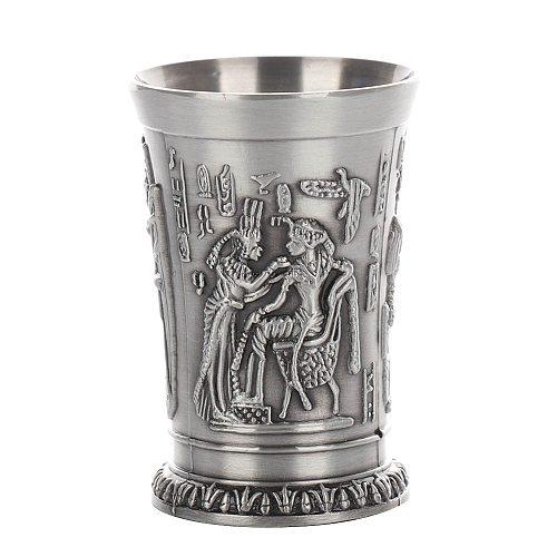 1pcs Egypt Myth Retro Copper Cup Bronze 3D Relief Wine Liquor Spirits Shot Glass Cleopatra Rameses Ra Shot Antique Glasses