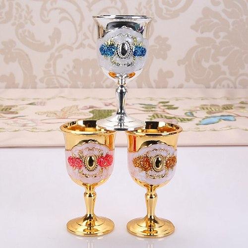 Wine Glass Shot Metal Glass 20ml to 50ml Retro Creative Small Liquor Cup Gold European Style High Grade Dining Bar Barware Gifts