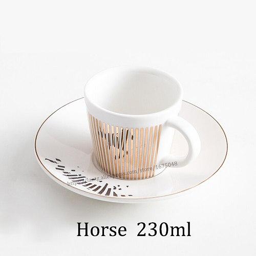 Creative Leopard Anamorphic Cup Mirror Reflection Cup Zebra Mug Luycho Coffee Tea Set With Coaster 90ml-220ml