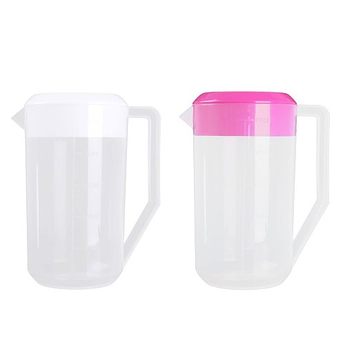 2500ML Large Water Pitcher Jug Capacity Food Grade Plastic Measuring Water Kettle Jug  with Lid Handle Portable for Home Pitcher