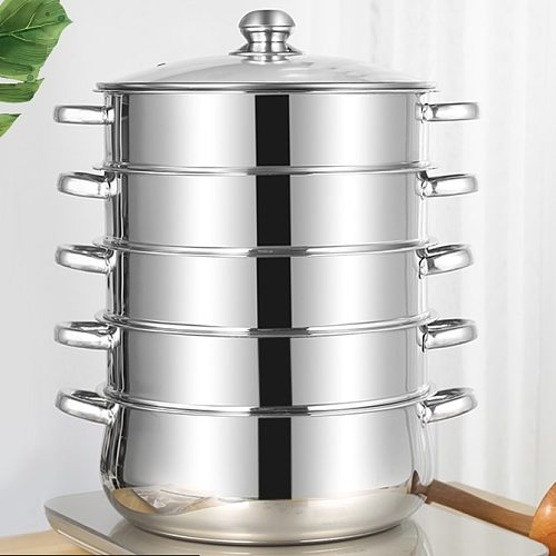 10-45Litre Double Boilers Cooking Steamer Steamed  3-5 layer For kitchen convenience Food Steamer Pot Stainless Steel Induction