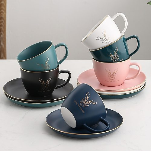 Luxury Gold Rim Ceramic Office Coffee Cup And Saucer Set Milk Tea Mugs Birthday Couples Gifts Friends  With Spoon