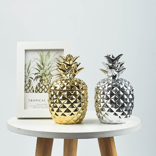 Ceramic Pineapple Storage Tank Candle Container Sugar Jar Craft Desktop Piggy Bank Seal Pot with Dustproof Cover Home Decor Gift