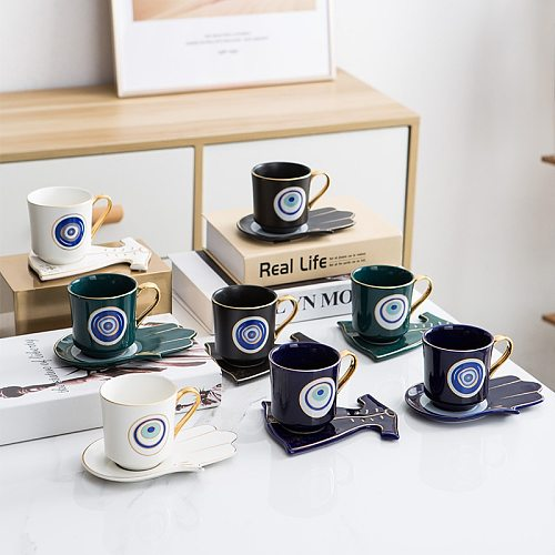Turkish Blue Eyes Luxury Coffee Cup Saucer Set with Hand and Clothe Shape Dish Ottoman Cup Boonido Coffee Cappuccino Cup 200ml