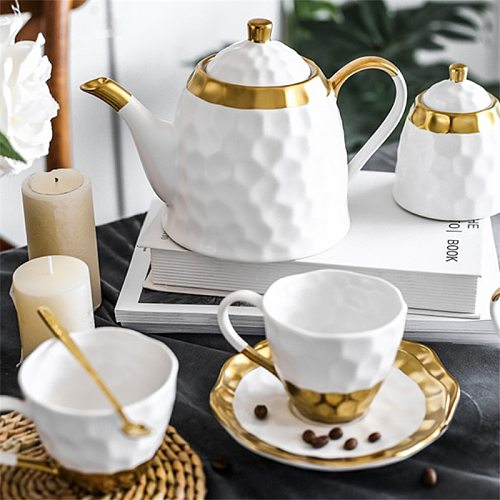 European Ceramic Simple Afternoon Tea Cup With Saucer Tea Set Household High End Coffee Pot Sugar Bowl Milk Jug Office Teapot