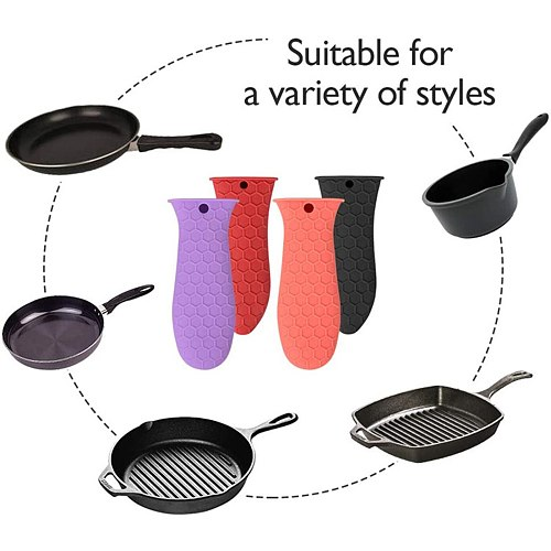 Anti-scald Heat Insulated Silicone Pot Handle Cover Skillet Holder Grip Sleeves Pan Handle Parts Cookware Parts Kitchen Tool
